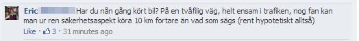 Inlägg på Polisen Södermalms Facebooksida
