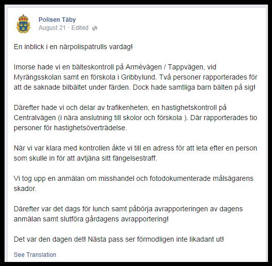 Polisen Täby Facebook