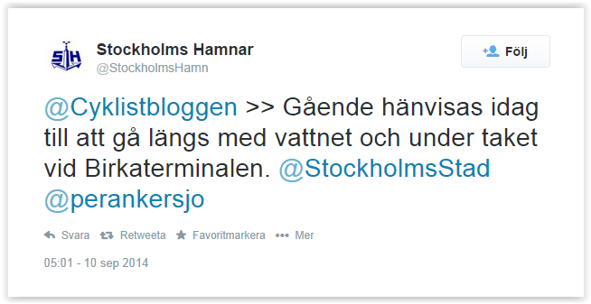Stockholsm Hamnar tweet