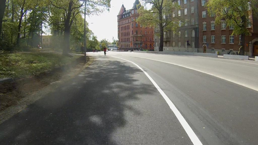 Nya cykelbana på Strandvägen